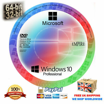 Microsoft Windows 10 Pro DVD Disk & Genuine License Key 64/32 bit (DVD/CD Disk)