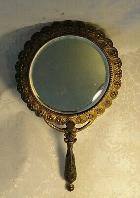 Antique Ornate, B & A BEVELED Hand Held MIRROR, Cast Metal w/Gold Tone #3568