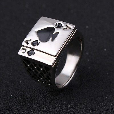 Ace of Spades Playing Card Boys Mens Stainless Steel Biker Ring Jewelry Cool