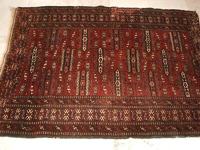 Old Tribal Afghan Jamud Rug Signed Yomut Nomadenteppich Signiert Tappeto Vecchio
