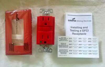 Cooper GFCI Red Receptacle 15A 125V - VGFH15FRD. (3 pk) NEW. Free Shipping