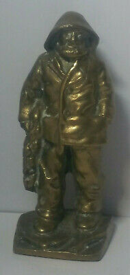 """Antique Solid Brass Fisherman Statue Figurine. 6.25"""" Tall. Weighs 51.4 Ounces."""