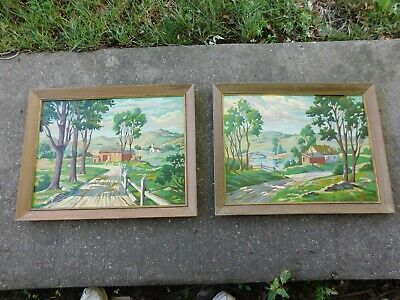 Pair Of Vintage Large Framed Paint By Number Paintings Farm House ,Church