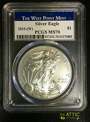 2015-(W) American Silver Eagle - PCGS MS70 - Struck at West Point - Blue Label