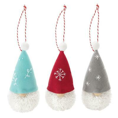 Mud Pie Red Blue Gray Pom Pom Gnome Christmas Tree Ornament Set of 3