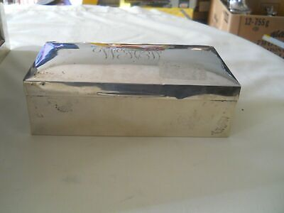 English Sterling Silver Cigarette Box Wood Lined