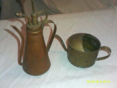2 Vintage Copper Or Copper Colored Small Vinegar Bottle Water Spout