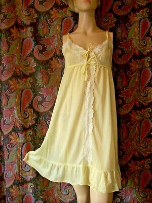 Vintage Leony's Yellow Lacy Empire A-line Mini Babydoll Nighty L