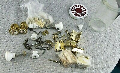 Vintage Lot Brass & Iron Ornate Door Knobs and Cabinet Hardware hinges