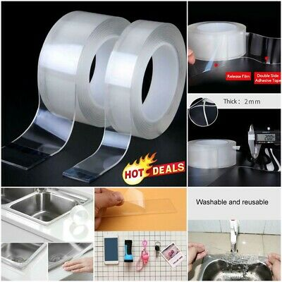 1m/5m Double-sided Grip Tape Traceless Washable Adhesive Tape Nano Invisible Gel