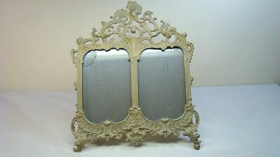 Ornate Antique Brass Double Picture Frame w Easel Back