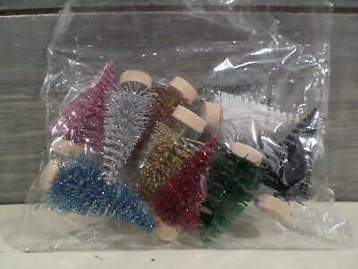 "9 Mini Small 2"" Sisal Trees Bottle Brush Christmas Assorted Colors Villages New"
