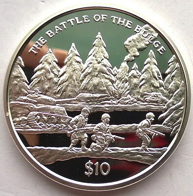 Sierra Leone 2005 Battle of The Bulge 10 Dollars Silver Coin,Proof