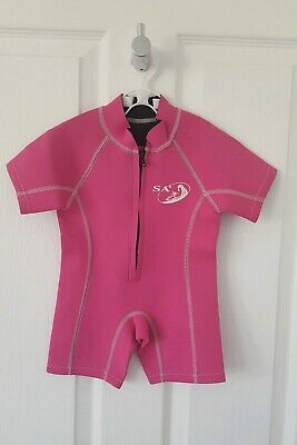 Baby Girls Pink Shortie Wetsuit by SA - 6-12 Months