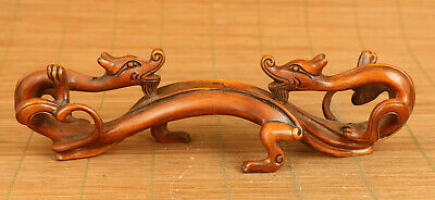 Asian old boxwood hand carved dragon statue netsuke Brush rack decoration gift