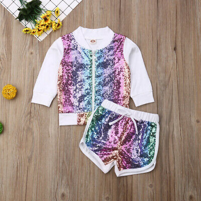 Girls Kids Fall Sweatshirt Outfit Sequin Zipper Pullover Tops Shorts Clothes Set