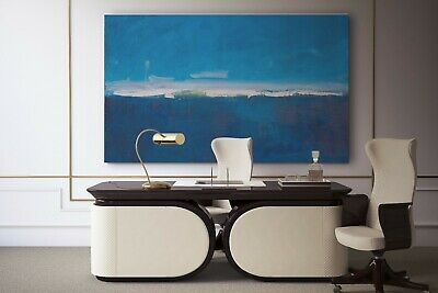Extra large wall art abstract painting, Blue #9