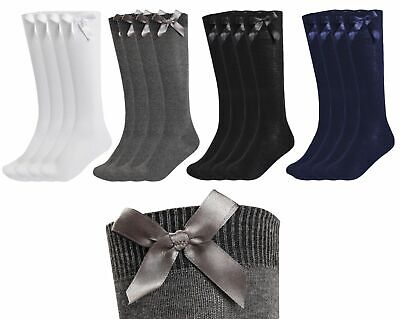 1 Pairs Girls Rich Cotton Knee High Children Kids School Socks With Bow Uniform