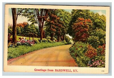 Scenic Greetings from Bardwell KY 1940's Linen Postcard A10