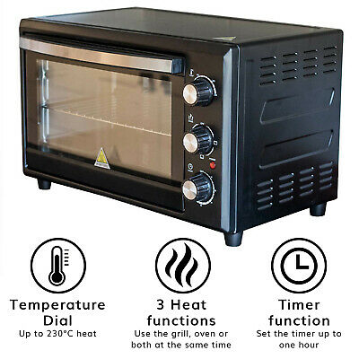 Jack Stonehouse 33L Mini Oven Grill with Baking Tray & Wire Rack, Black
