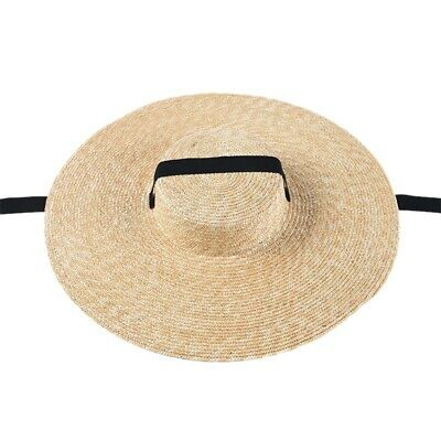 Women Sun Hat French Style Wide Brim Straw Hat Casual Natural Wheat Straw H M1G3
