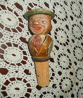 Antique / Vintage Hand Carved Wood English Liquor Wine Bar Bottle Cork Stopper