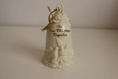 Our First Christmas Together Ceramic Bell Doves Roese Flowers