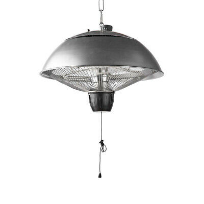 Electric Patio Heater Aluminium 2KW Ceiling Mounted Halogen Outdoor IP24 Black