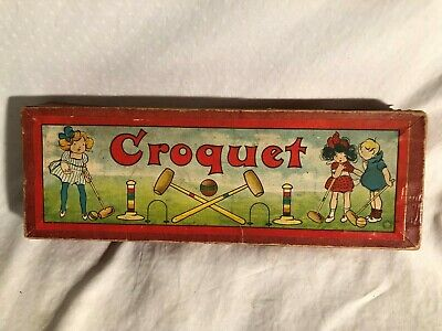Antigue Germany Croquet Toy Set Origional Box Table Top Toy