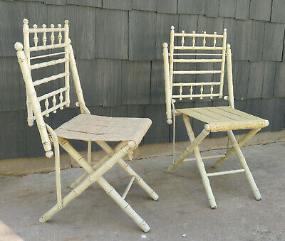 Pair Antique Victorian White Stick & Ball Bamboo Look Folding Chairs
