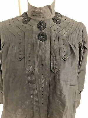 1800's Antique Victorian Silk Blouse Black Top Mourning High Neck