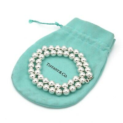 "Stunning Tiffany & Co Sterling Silver Bead Ball Necklace 18"" W/ Pouch #797B-5"