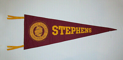 Old Vtg 1950s Stephens College Soft Felt and Leather Pennant Full Size Scarce
