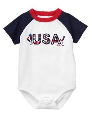 GYMBOREE NWT Baby Boy Newborn Red White & Cute Bodysuit 0-3 Mos 4th July 2016