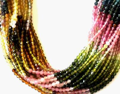 """6"""" One Line Natural Multi Tourmaline Faceted Round Gemstone Beads 2 Mm #314-A"""