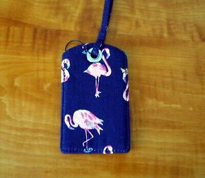 VERA BRADLEY NAME, ID HOLDER or LUGGAGE TAG in PINK FLAMINGO FIESTA MINT + TAG