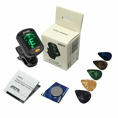 AROMA Clip on Digital LCD Tuner For Guitar Bass Ukulele Chromatic Violin 5 Picks