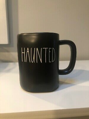 "New RAE DUNN Halloween LL ""HAUNTED"" Black Mug By Magenta"
