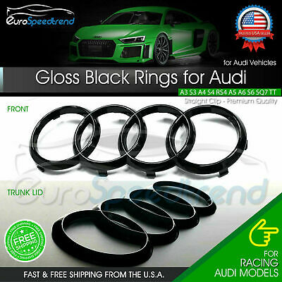 Audi Rings Front Grill & Rear Trunk Emblem Gloss Black Logo A3 A4 S4 A5 S5 A6 S6
