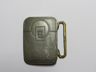 "Old Belt Buckle - ""E"" - Silver Plate - for Belt 1"" Thick"