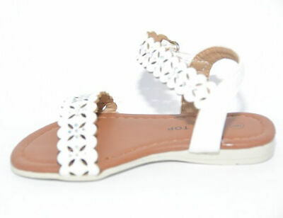 Lucky Top Sue-22A Baby Girls Rhinestone Sandals in White - 6
