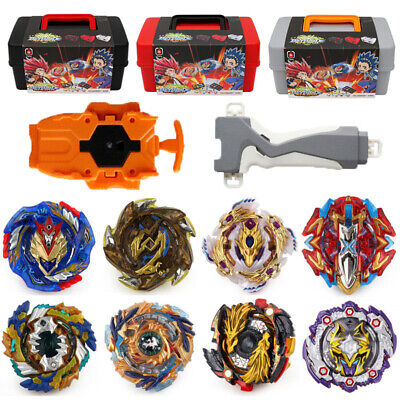 8PCS Beyblade Burst Set Spinning Portable Storage Box Case + Grip Launcher Gifts
