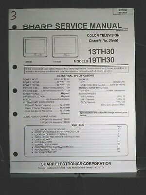 Sharp Service Manual Color Television Chassis No SN-60 Models 13TH30, 19TH30