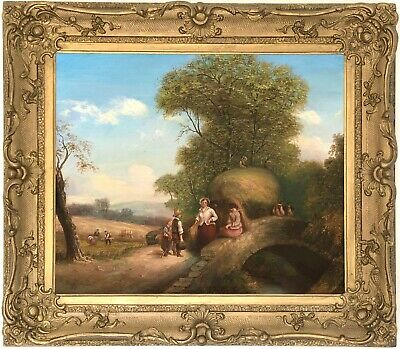A Harvest Landscape Antique Oil Painting Early 19th Century English School