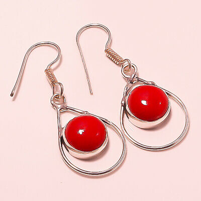 """Awesome ! Spongy Red Coral Gemstone Silver Plated Handmade Jewelry Earring 1.75"""""""