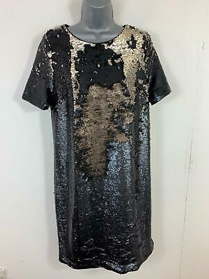 Bnwt Womens Next Black/Gold Sequin Short Sleeved Party/Cocktail Dress Size 12