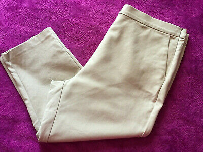 Marks And Spencer Beige Cotton Rich Crop Trousers Size 18 20 Length 22.5'' ♡♡♡