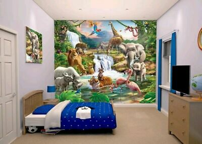 Kids Wall Paper Walltastic Jungle Adventure 12 Panel Wall