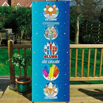 SCOOP, KNICKERBOCKER GLORY, SLUSH, LOLLIES BANNER DISPLAY SYSTEM Free Standing