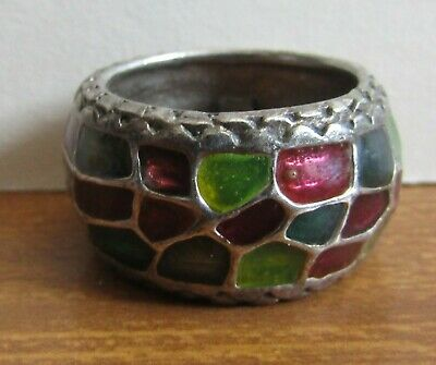 Old Multi Coloured Mosaic Style Stone & Silver Ring